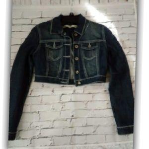 Dollhouse Dark Blue Wash Cropped Denim Jacket